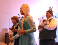 Elsa and Anna Sing let it go and I and Chewie the Wonder Pom approve