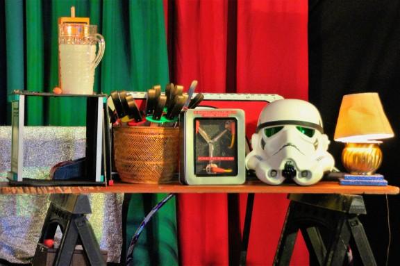 Flux Capacitor and Storm Trooper helmet