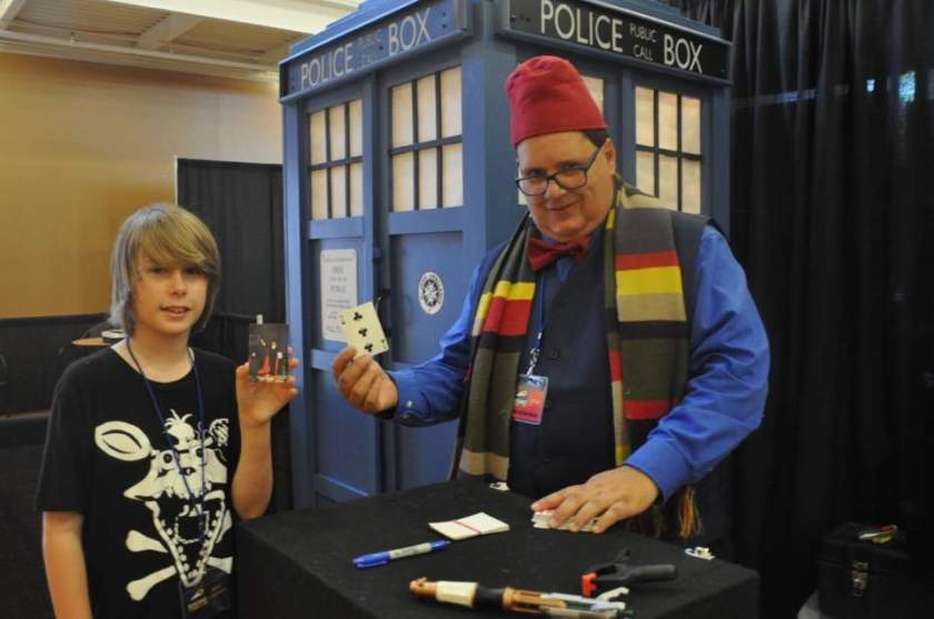Doing Card Tricks as Dr Who in the booth next to my Tardis