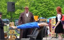 Student practicing levitation charm