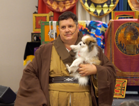 A jedi and his baby Wookie
